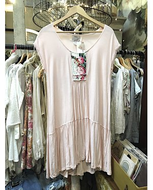 Lace by Donelle Scott | Soft pink Viscose Rayon Crepe Dress with Ruffled Hem