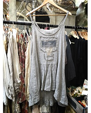Lace - by Donelle Scott | Grey Linen Tunic with Lace Detailing