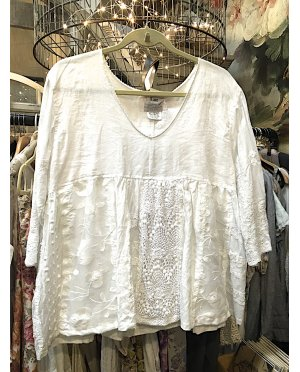 Lace - by Donelle Scott | White Linen Top with Lace Panels