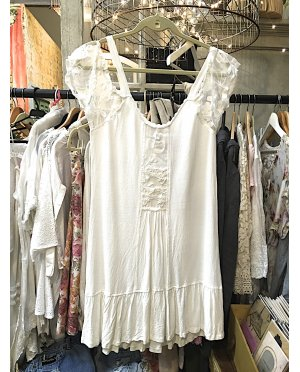 Lace - by Donelle Scott | White Viscose Rayon Crepe Tunic with Lace Detailing