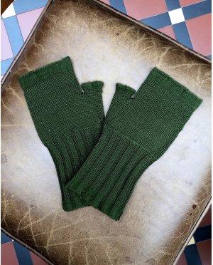 Banana Blue - Merino Fingerless Gloves - Moss