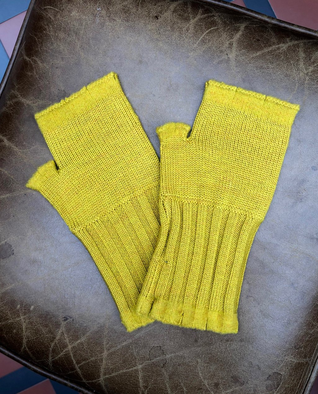 Banana Blue - Merino Fingerless Gloves - Mustard