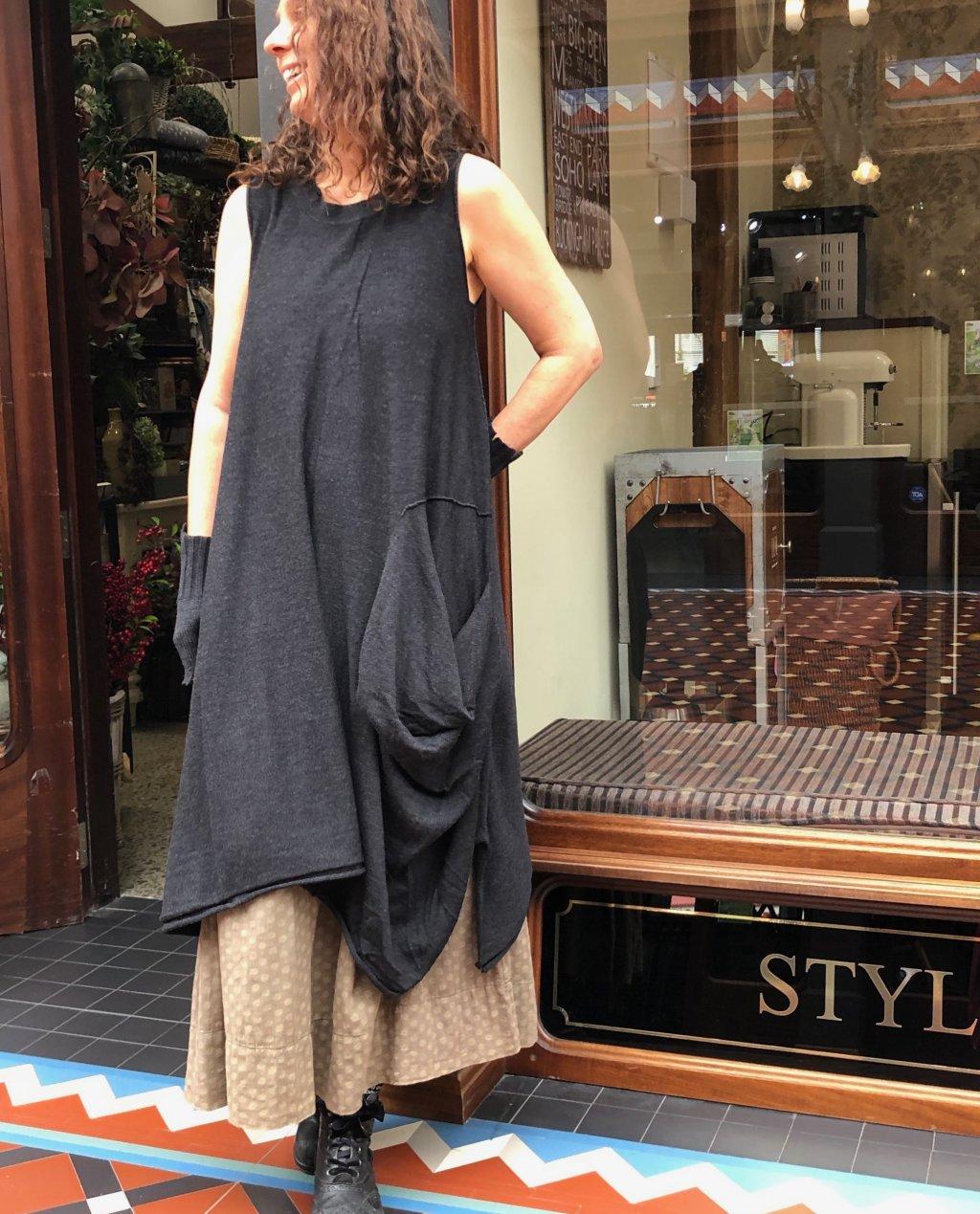 Banana Blue - Merino Dress - Dark Charcoal