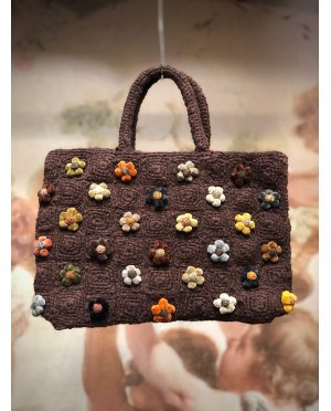 Sophie Digard - Crocheted Hand Bag - Coffee - Tiny Flowers - Small