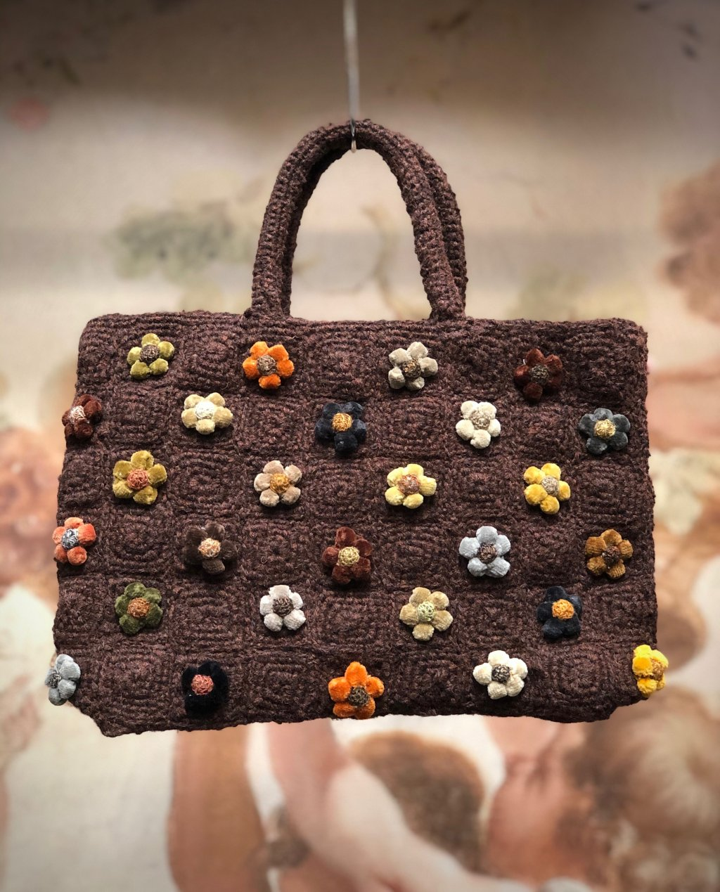 Sophie Digard | Crocheted Hand Bag | Coffee | Tiny Flowers - Small