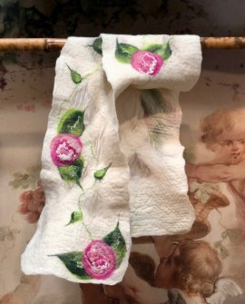 Agnes Foss - Felted Merino Scarf / Wrap - Pink Roses on White Background