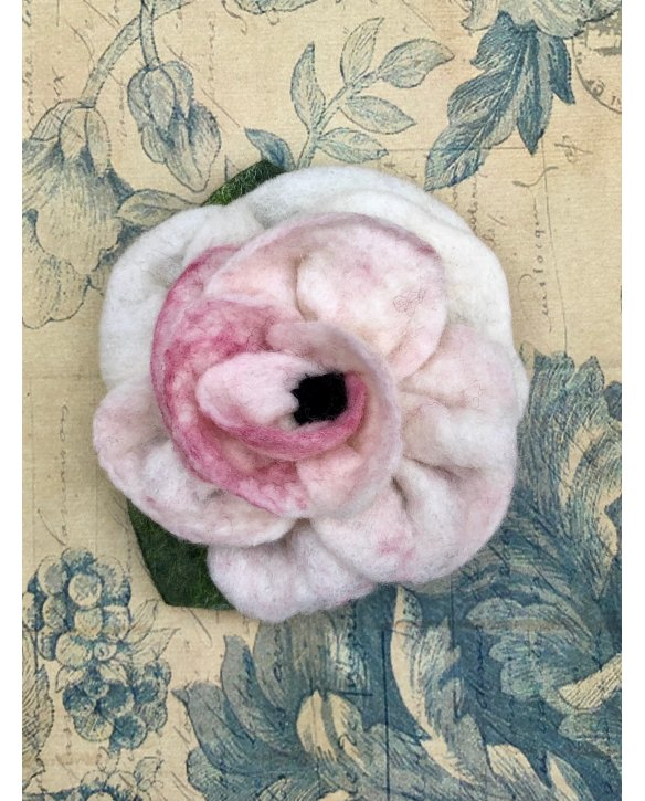 Agnes Foss - Felted Rose Brooch - Dusty Pink and White