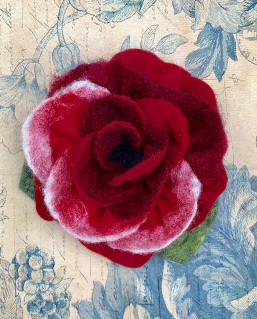 Agnes Foss - Felted Rose Brooch - Crimson and White