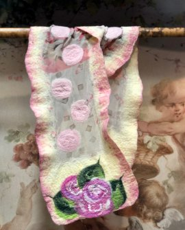 Agnes Foss - Felted Merino Scarf / Wrap - Pink Roses on Cream Background with Pink Edging and Organza Insert