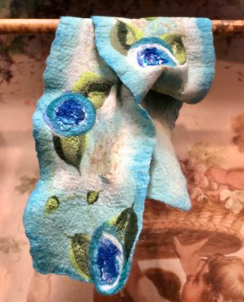 Agnes Foss - Felted Merino Scarf / Wrap - Blue Roses on White Background with Blue Edging and Silk Inserts