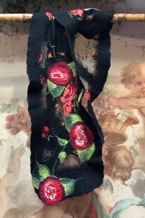 Agnes Foss - Felted Merino Scarf / Wrap - Crimson Roses on Black Background with Silk Inserts