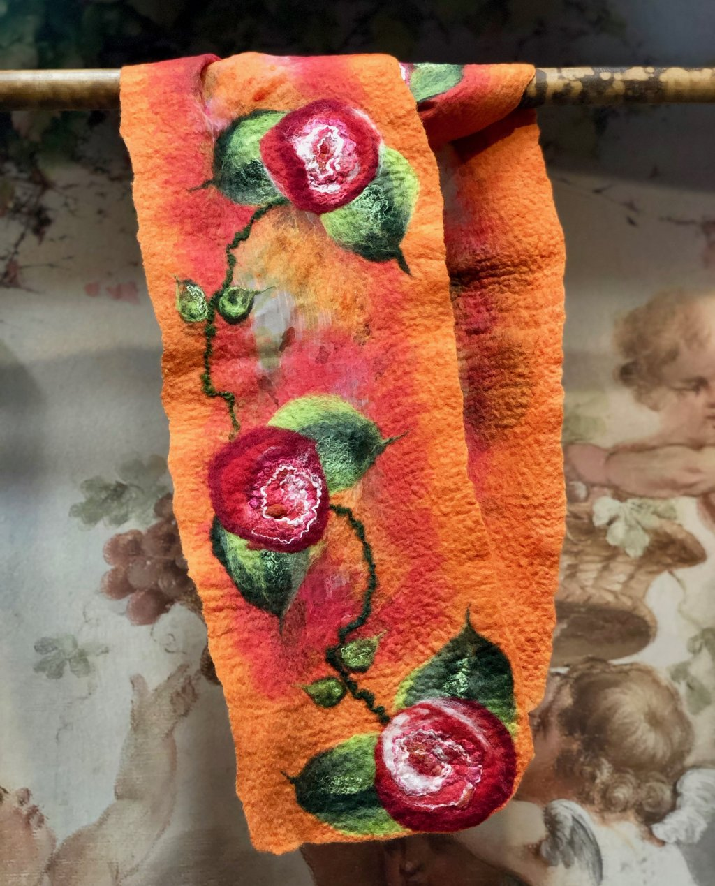 Agnes Foss - Felted Merino Scarf / Wrap - Red Roses on Orange Background with Organza Inserts