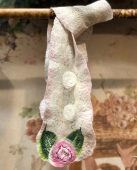 Agnes Foss - Felted Merino Scarf - Pink Roses on White Background with Silk Inserts