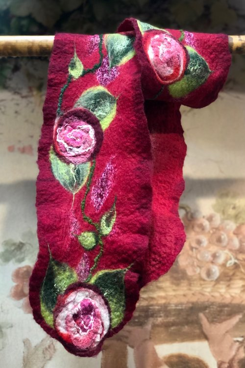 Agnes Foss - Felted Merino Scarf - Crimson Roses on Crimson Background