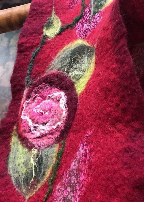 Agnes Foss - Felted Merino Scarf - Crimson Roses on Crimson Background