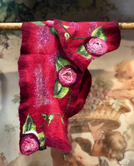 Agnes Foss - Felted Merino Scarf / Wrap - Crimson Roses on Crimson Background