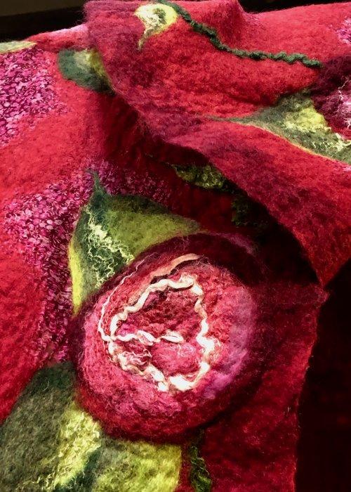 Agnes Foss - Felted Merino Scarf / Wrap - Crimson Roses on Crimson Background