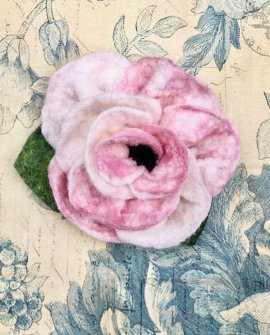 Agnes Foss - Felted Rose Brooch - Pale Pink and White