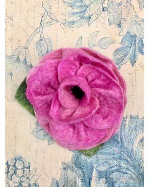 Agnes Foss - Felted Rose Brooch - Pink
