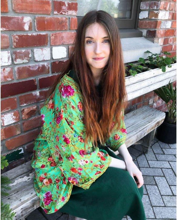 Inoa Fashions   Silk Kimono-style Housecoat   Chartreuse