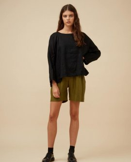 Widdess - Asa Top -Linen - Black Rice