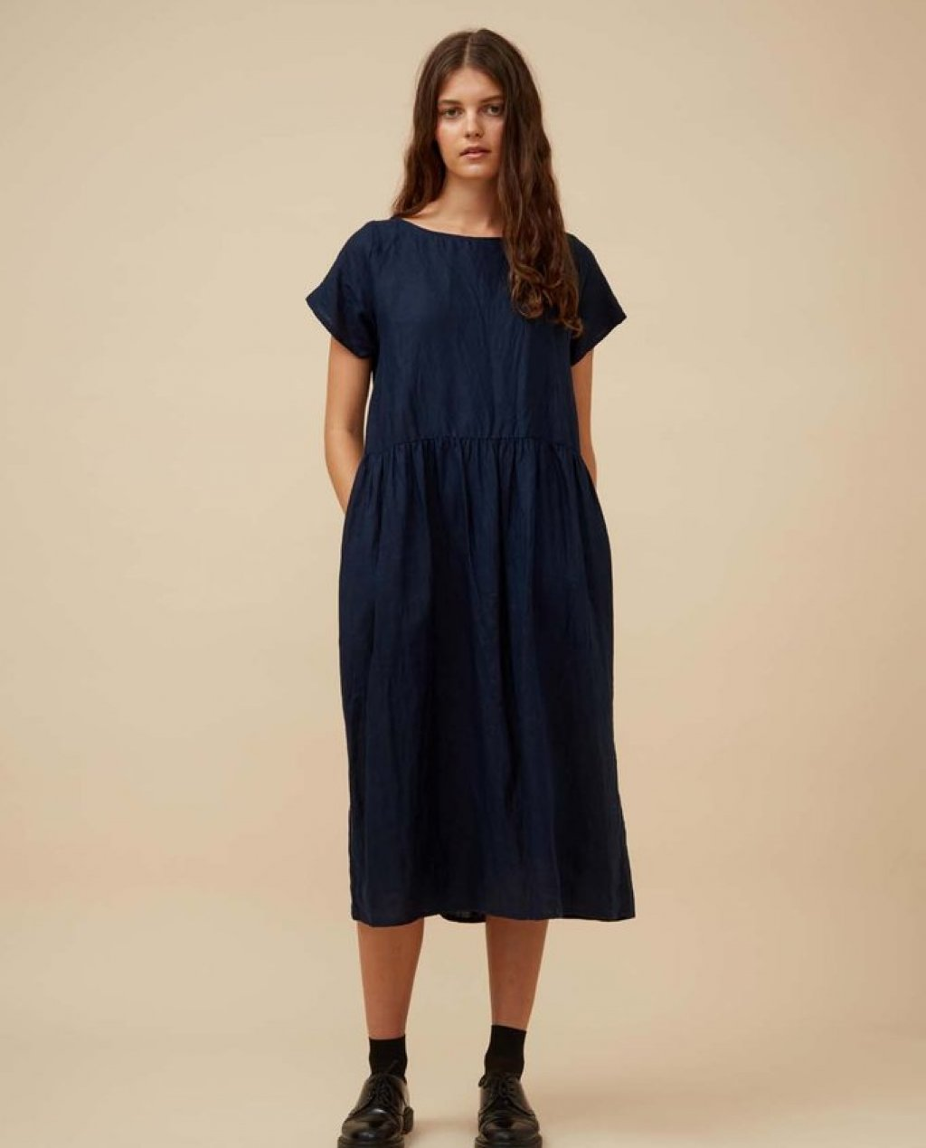 Widdess - Atlanta Dress - Linen - Indigo