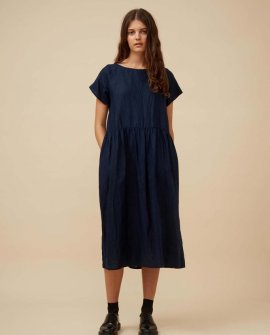 Widdess - Atlanta Dress - Linen - Indigo