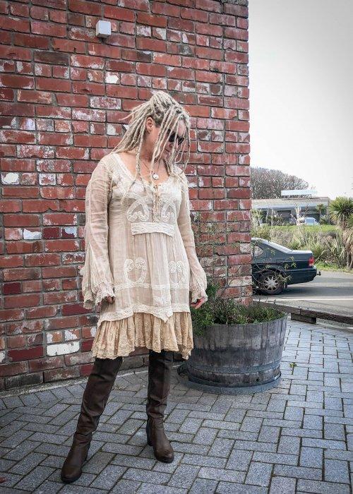 Gado Gado | Cotton Lace Embroidered Dress | Ecru
