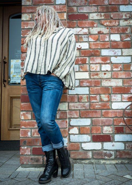 Meg by Design | Avery Linen Shirt | Natural and Black Stripe