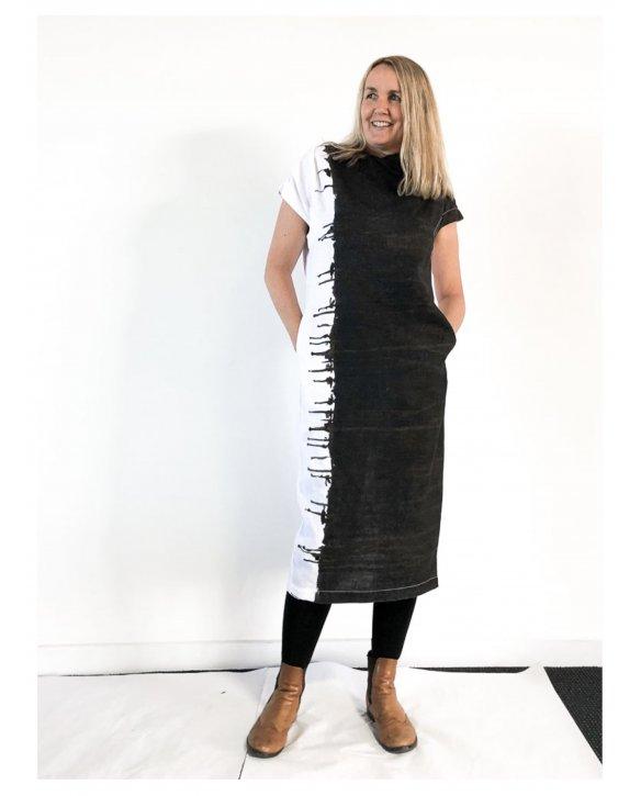 Banana Blue - 100% linen Dress - Black and White