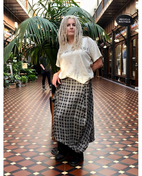 Banana Blue | Kilt-style Skirt | Check | 100% linen