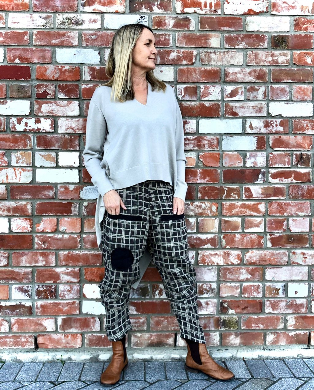 Banana Blue | Slouchy Linen Pants | Black & White Check