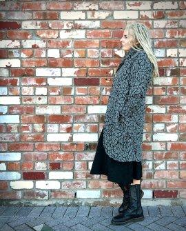 Banana Blue - Long Winter Coat - Mosaic Check - Wool-Viscose-Cotton Mix