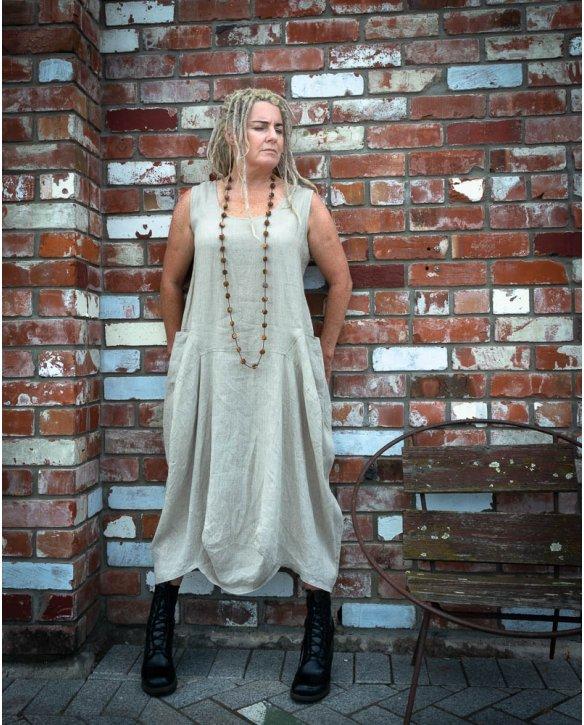 Banana Blue | Sleeveless Linen Dress | Flax
