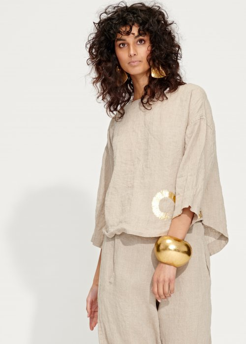 Banana Blue | Short Linen Jacket - Blouse | Flax