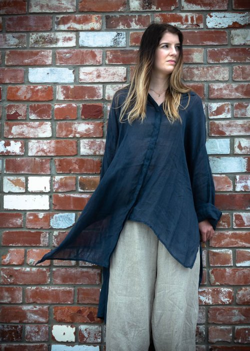 Banana Blue | Long Linen Shirt | Navy