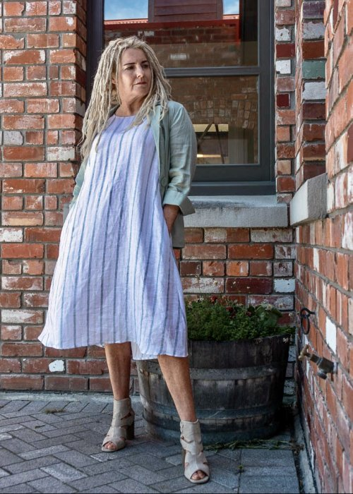 Quote   100% linen Dress  Blue & White Stripes