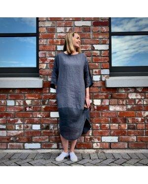 Banana Blue - 100% linen Dress - Slate