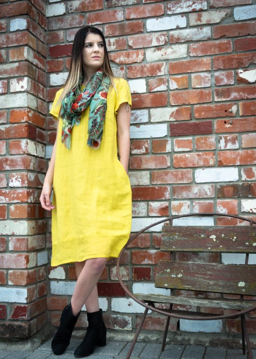 Banana Blue | Linen Dress | Bright Canola