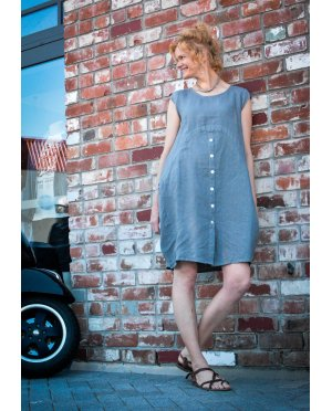 Banana Blue - 100% Linen Dress - Stone