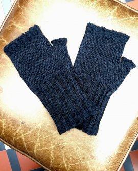 Banana Blue - Merino Fingerless Gloves - Dark Charcoal