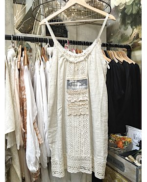 Lace - by Donelle Scott | Cream Linen Tunic with Lace Detailing and Vintage Image Transfer