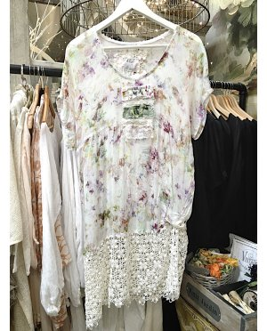 Lace - by Donelle Scott | Crushed Polyester Chiffon Tunic with Lace Detailing and Vintage Image Transfer