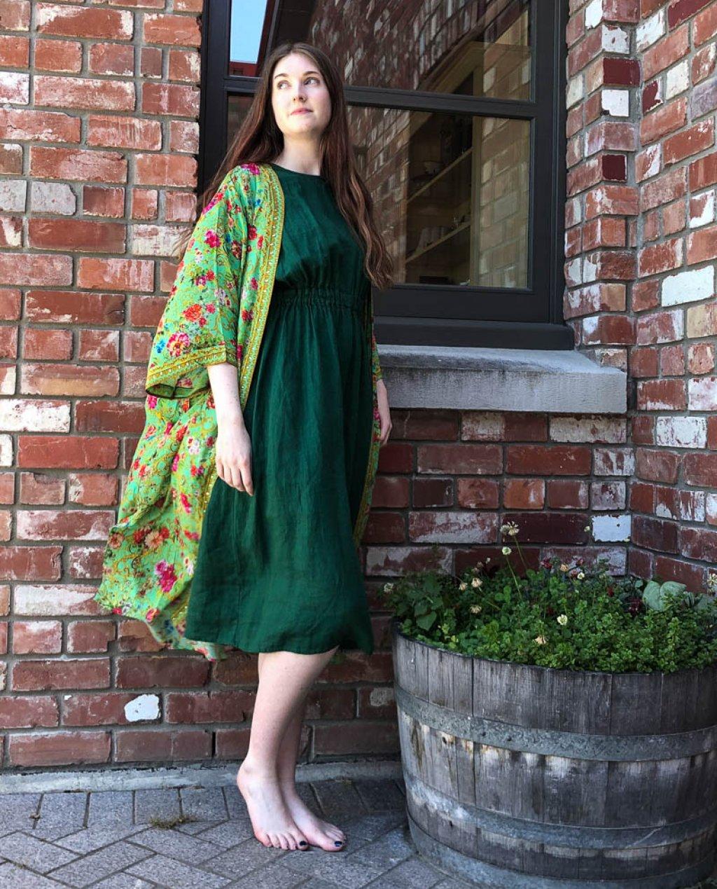 Seaside Tones   Linen Dress   Forest Green