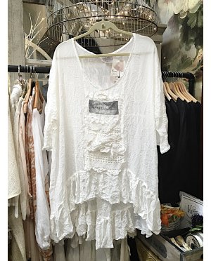 Lace | Floaty White Tunic with Lace Detailing and Ruffled Hem