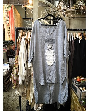 Lace - by Donelle Scott | Long Grey Linen Tunic with Vintage Transfer and Lace Detailing
