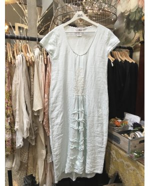 Lace - by Donelle Scott | Blue Linen Dress with Lace Detailing