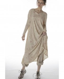 Magnolia Pearl | Cotton Jersey  T Dress | Hand-block-printed | Golden Poppy