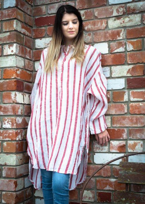 Meg by Design | Harper Linen Shirt | Red and White Stripe
