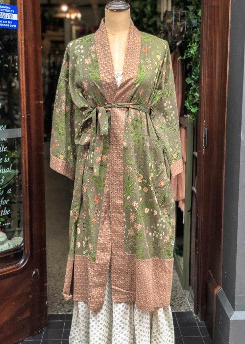 Stella & Gemma| Cotton Housecoat | Green & Brown